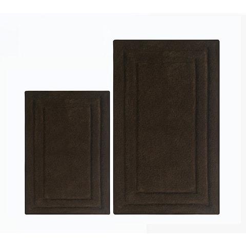 Soft Underfoot 2 Piece Cotton Bath Rug Set, Chocolate Brown - 2' x 3'