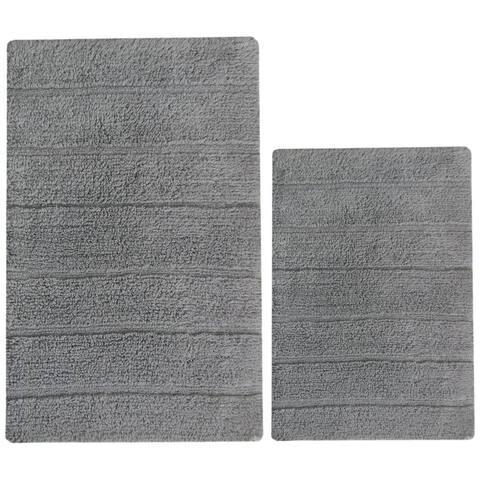 "Soft Underfoot Solid 2 Piece Bath Rug Set In Cotton, Gray - 1'8"" x 2'6"""