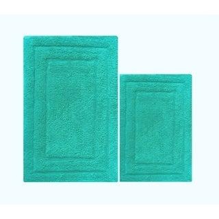 Foldable 2 Piece Cotton Bath Rug Set, Turquoise Blue - 1'8 x 2'8