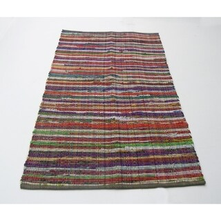 Medium Size Recycle Cotton Rainbow Chindi Rag Rug, Multicolor - multi