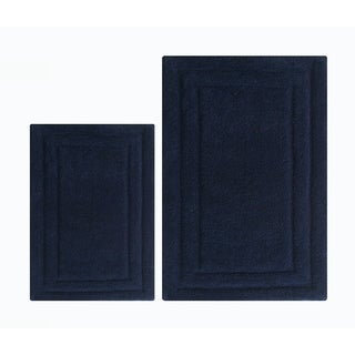 Foldable Classic 2 Piece Bath Rug Set In Cotton, Navy Blue - 2' x 3'