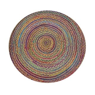72 Inches Round Rainbow Chindi Rag Rug, Multicolor
