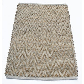 Jute And Cotton Chenille Chevron Rug, Ivory