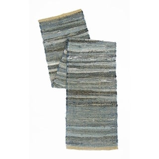 Roughly Designed Cotton Denim And Jute Table Runner, Blue