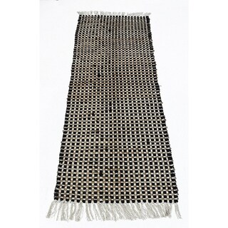 Grid Pattern Jute/Cotton Chindi Monterey Chindi Rug, Black