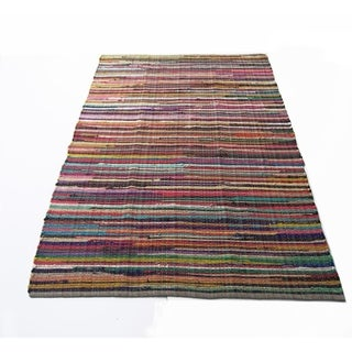Extra Large Size Recycle Cotton Rainbow Chindi Rag Rug, Multicolor