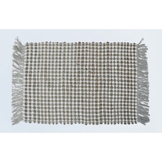 Jute And Cotton Monterey Chindi Rug With Fringe Ends , Ivory