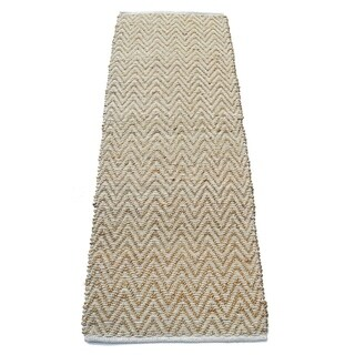 Chevron Patterned Jute And Cotton Chenille Rug, Ivory