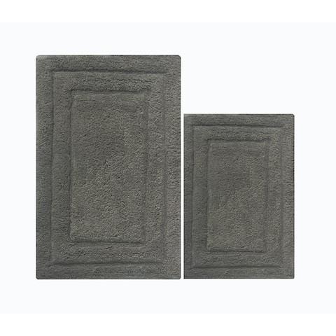 Skid Free 2 Piece Bath Rug Set In Cotton, Gray