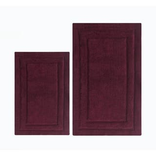 Soft and Skid Free Classic 2 -Piece Bath Rug Set In Cotton, Burgundy