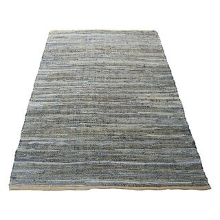 Well Knitted Cotton Denim Rug, Blue