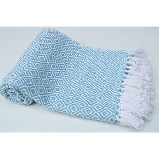 Diamond Patterned Cotton Throw, Aqua Blue And White
