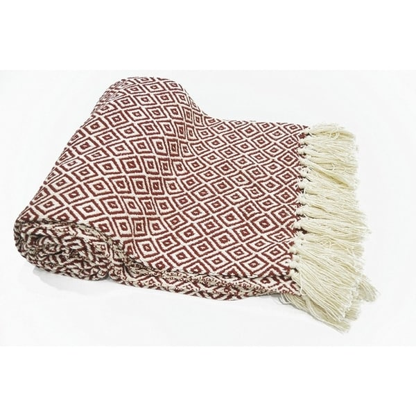 Diamond Pattern Cotton Throw With Fringed Ends, Rust-Ivory - 4' x 6'