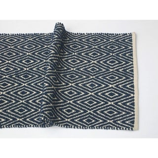 Soft Cotton Chenille Diamond Rug, Navy Blue & Ivory