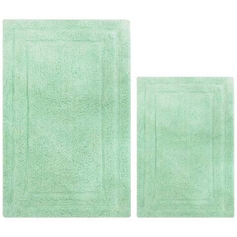 Anti Skid Classic 2 Piece Cotton Bath Rug Set, Mint Green - 2' x 3'