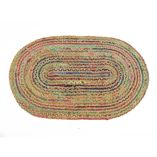 Shop Jute And Recycle Cotton Cuttings Rainbow Chindi Rug