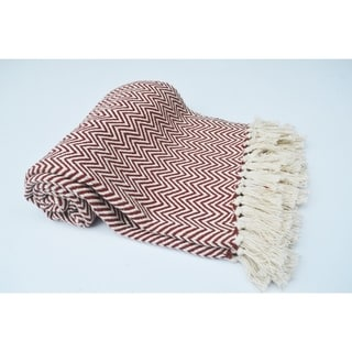 Chevron Patterned Cotton Throw, Rust And Ivory - 4' x 6'