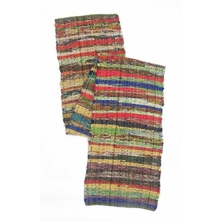 Recycled Cotton Cuttings Rainbow Chindi Table Runner, Multicolor - Multi-color