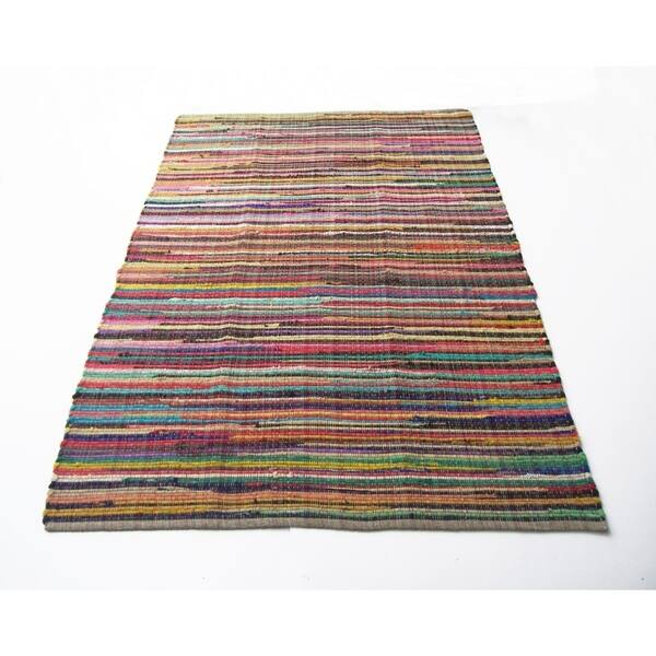 Large Size Recyle Cotton Rainbow Chindi Rag Rug Multicolor 5 X 8