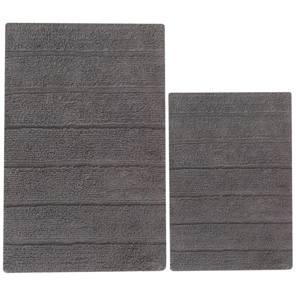 Foldable 2 Piece Cotton Bath Rug Set Griffin Gray 1 X27 8