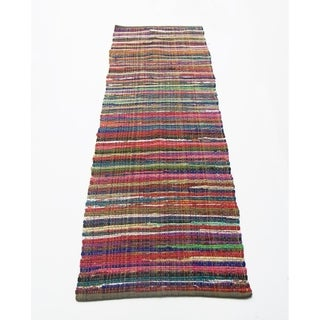 Regular Size Recycle Cotton Rainbow Chindi Rag Rug, Multicolor - multi