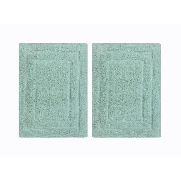 "Rectangular Shape Classic 2 Piece Cotton Bath Rug Set, Mint Green - 1'5"" x 2"""