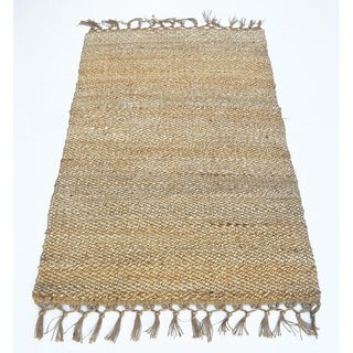 Providence Jute Rug With Knotted Fringe Ends, Natural Brown