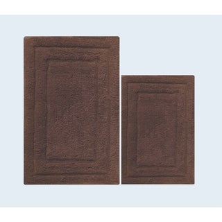 Foldable and Absorbent 2 Piece Bath Rug Set In Cotton, Nutmeg Brown - 2' x 3'