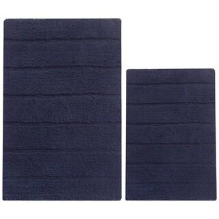 2 Piece Soft Texture Cotton Bath Rug Set, Navy Blue - 1'6 x 2'1