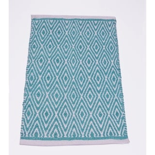 Sturdy Cotton Chenille Diamond Rug, Turquoise Blue