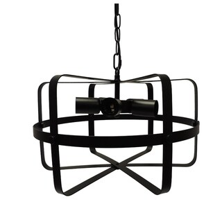 Drum Shape Round Metal Pendant with 5 Bulb Sockets, Antique Black