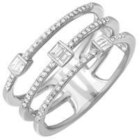 14k White Gold Women's Diamond Ring - Size 7