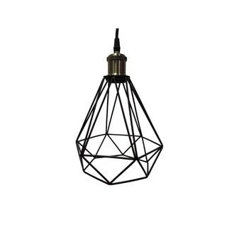 Polygon Diamond Shaped Wire Pendant Light, Black