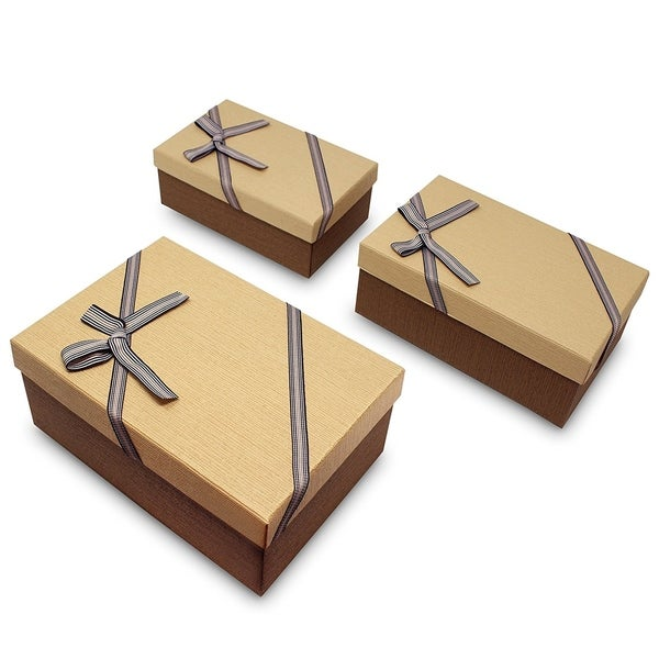 Decorative Nesting Gift Boxes, A Set of 3, Light Brown with A Bow tie