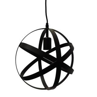 Spherical Orb Shape Metal Globe Pendant, Black