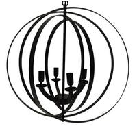 4-Light Modern Sphere/Orb Chandelier With Interlocking Rings, Bronze