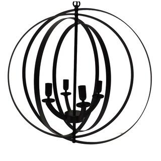 4-Light Modern Sphere/Orb Chandelier With Interlocking Rings, Bronze