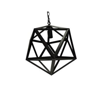 "16"" Industrial Style Polyhedron Metal Chandelier, Black"