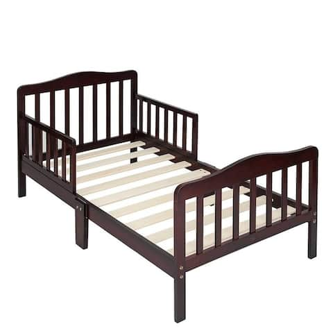 Wooden Baby Toddler Bed Children Bedroom Furniture with Safety Guardrails