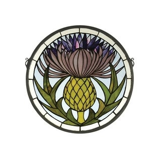 """Meyda Handcrafted Thistle Medallion Stained Glass Window - 17""""W X 17""""H"""