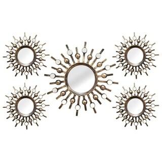 Stratton Home Decor Hand Crafted 5 Piece Burst Mirrors - Bronze