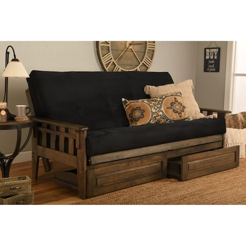 Somette Tucson Full Size Futon Set in Rustic Walnut Finish with Storage Drawers and Suede Mattress