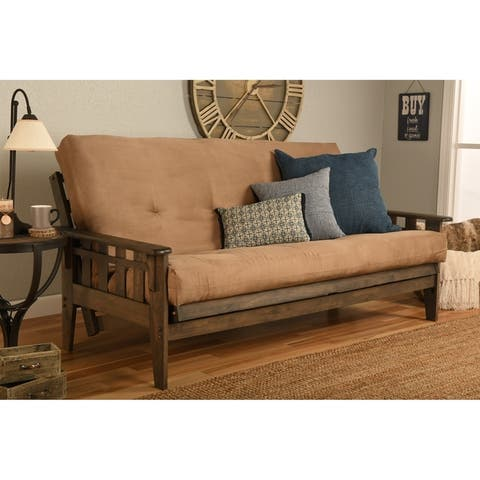 Somette Tucson Full Size Futon Set in Rustic Walnut Finish with Suede Mattress