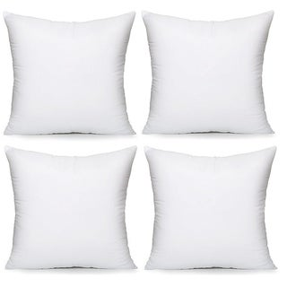 """Hypoallergenic Pillow Insert Form Cushion, 18"""" L x 18"""" W, Pack of 4"""