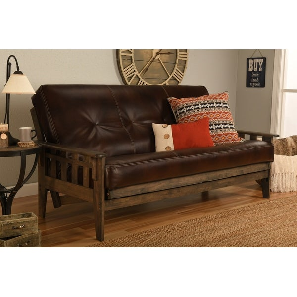 Somette Tucson Full Size Futon Set In Rustic Walnut Finish With Leather Mattress