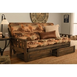 Somette Tucson Full Size Futon Set in Rustic Walnut Finish with Storage Drawers