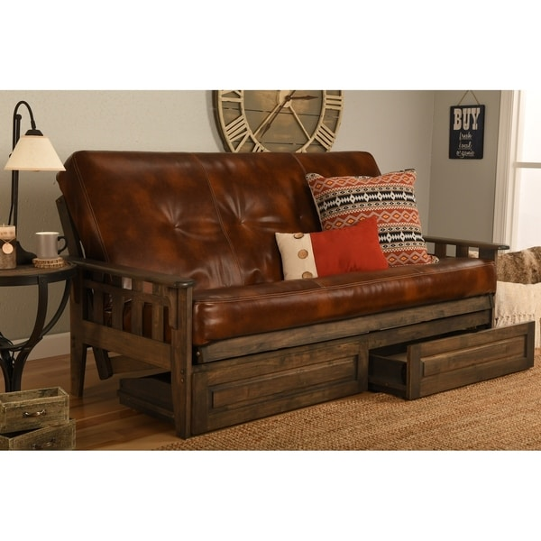 Somette Tucson Full Size Futon Set In Rustic Walnut Finish With Storage Drawers And Leather Mattress