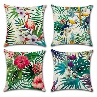Flamingo Pattern&Tropical Flower Leaves Cotton Linen Cushion Covers
