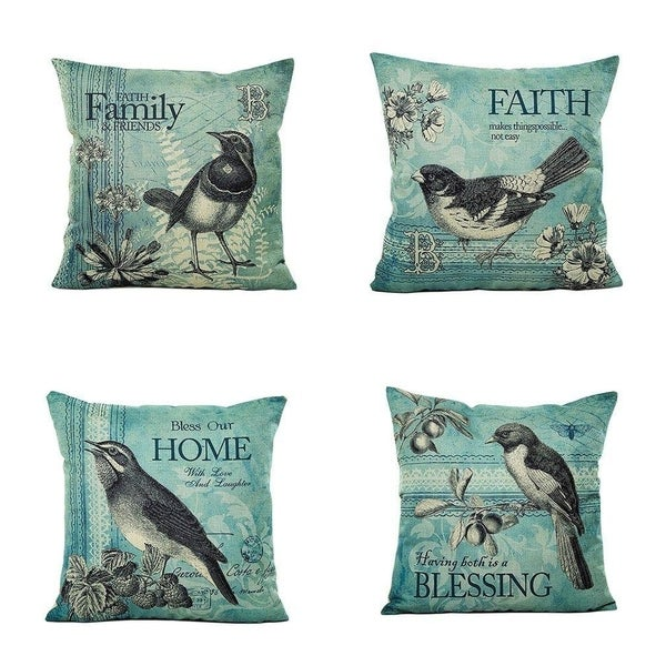 Captivating Style Birds Pattern Sofa Throw Pillow Case Cushion Cover