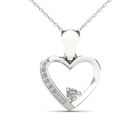 AALILLY 10k White Gold Diamond Accent Heart Pendant Necklace (H-I, I1-I2)